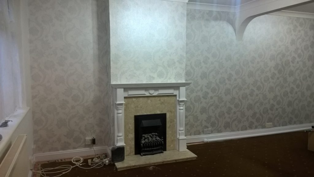 Floral residential wallpapering service